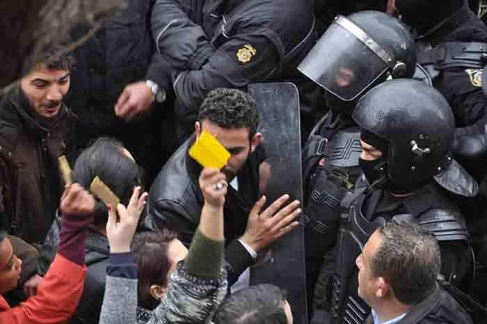 Crédit photo: Massinissa Benlakehal   Des nouvelles manifestations en Tunisie à deux jours de l'anniversaire de la révolution
