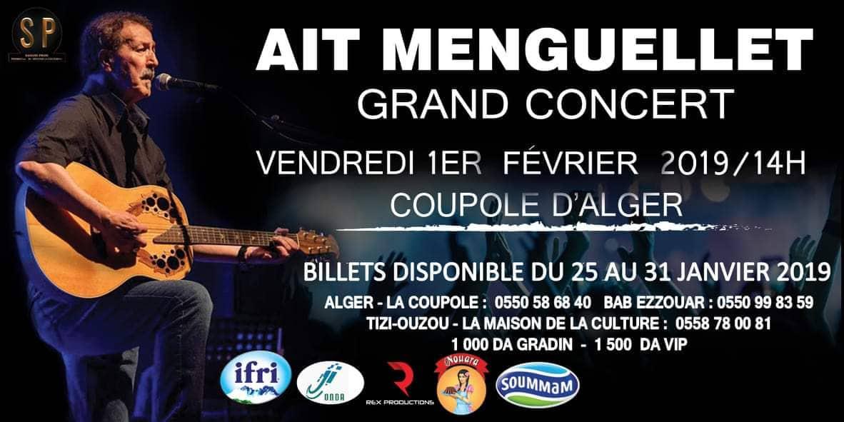 Dans la continuité de la célébration de Yennayer, le chantre de la chanson kabyle, Lounis Ait Menguellet, donne rendez-vous au public de la capitale le 1 février à 14h pour animer un grand concert à la coupole d'Alger.