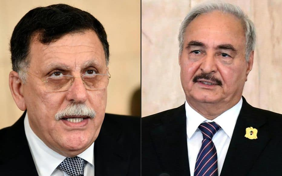 © DR | (De gauche à droite) Le chef du gouvernement reconnu par l'ONU (GNA), Fayez al-Sarraj, et l'homme fort de l'Est, le maréchal Khalifa Haftar