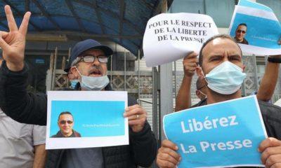 © DR | sit-in devant les locaux du journal Liberté pour la libération de Rabah Karèche le 25 avril 2021
