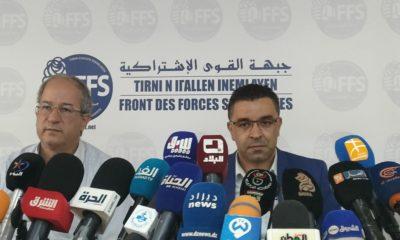 © INTERLIGNES   Le Premier secrétaire du FFS Youcef Aouchiche et le membre de l'instance présidentielle Hakim Belahcel