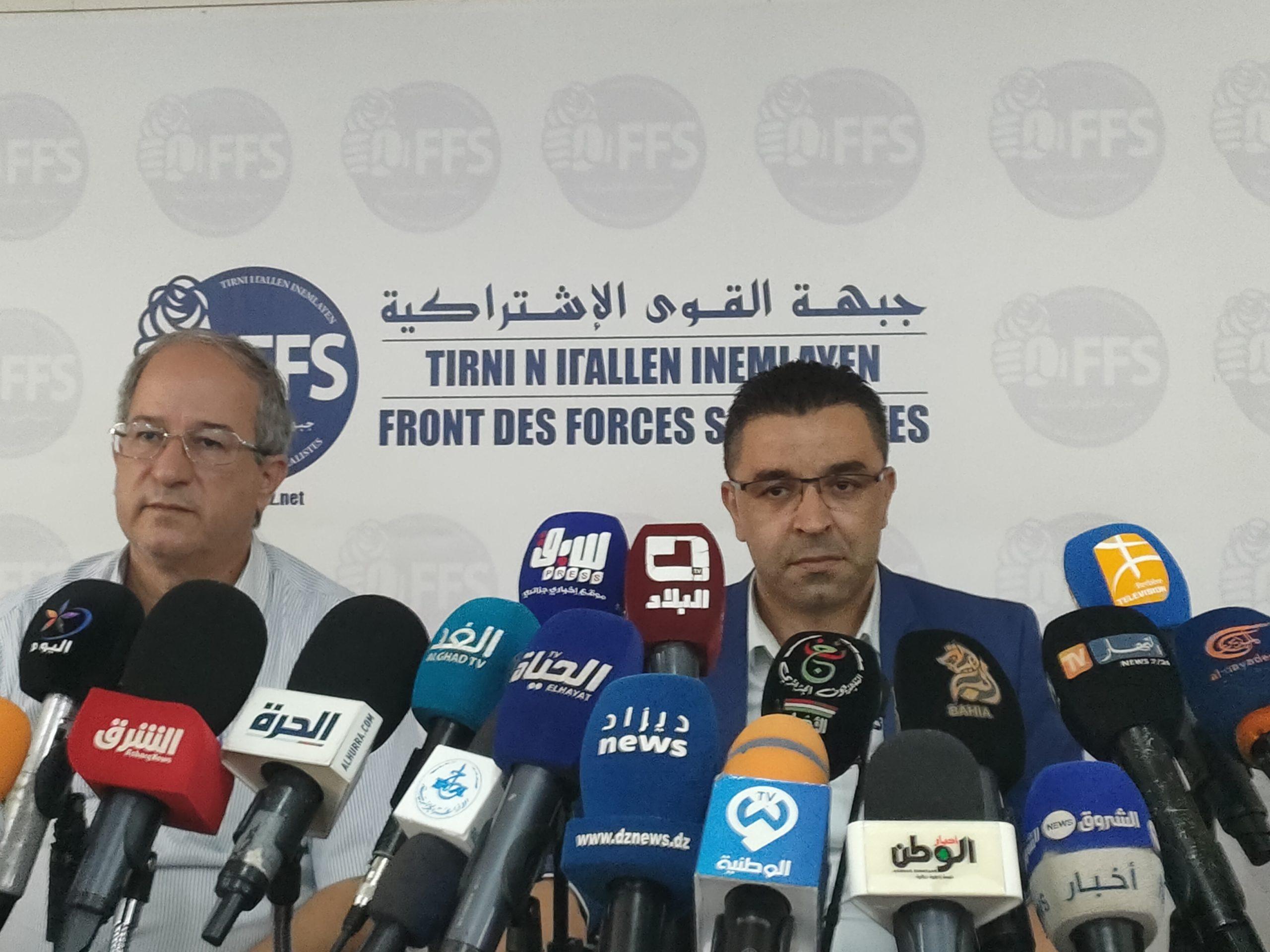 © INTERLIGNES | Le Premier secrétaire du FFS Youcef Aouchiche et le membre de l'instance présidentielle Hakim Belahcel